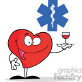 Healthy Red Heart Character Serving a Glass of Red Wine in Red Cross