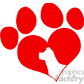 Royalty Free RF Clipart Illustration Red Love Paw Print With Dog Head Silhouette