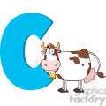 Royalty Free RF Clipart Illustration Funny Cartoon Alphabet C With Cow