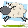 7105 royalty free rf clipart illustration black head sheep cartoon mascot character jumping  gif, png, jpg, eps, svg, pdf