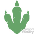 8774 Royalty Free RF Clipart Illustration Dinosaur Green Paw Print Vector Illustration Isolated On White Background