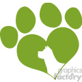 royalty free rf clipart illustration green love paw print with dog head silhouette  gif, png, jpg, eps, svg, pdf