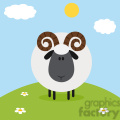8242 Royalty Free RF Clipart Illustration Cute Ram Sheep On A Hill Modern Flat Design Vector Illustration