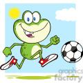 7279 Royalty Free RF Clipart Illustration Cute Green Frog Cartoon Character Playing With Soccer Ball