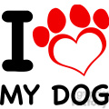 illustration i love my dog text with red heart paw print  gif, png, jpg, eps, svg, pdf
