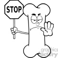 royalty free rf clipart illustration black and white angry bone cartoon mascot character holding a stop sign gif, png, jpg, eps, svg, pdf