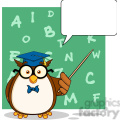 royalty free rf clipart illustration wise owl teacher cartoon mascot character with a speech bubble and background gif, png, jpg, eps, svg, pdf