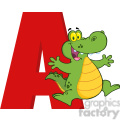 Royalty Free RF Clipart Illustration Funny Cartoon Alphabet A With Aligator