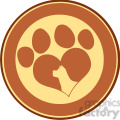 illustration love paw print brown circle banner design with dog head silhouette  gif, png, jpg, eps, svg, pdf
