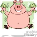 Royalty Free RF Clipart Illustration Smiling Rich Pig With Dollar Eyes And Cash Jumping Over Green