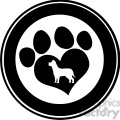 royalty free rf clipart illustration love paw print black circle banner design with dog silhouette  gif, png, jpg, eps, svg, pdf