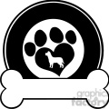 royalty free rf clipart illustration veterinary black circle label design with love paw dog and bone  gif, png, jpg, eps, svg, pdf