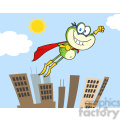 Royalty Free RF Clipart Illustration Frog Superhero Cartoon Character Flying Over The City