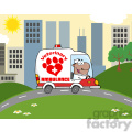 royalty free rf clipart illustration afro american doctor driving veterinary ambulance in the city  gif, png, jpg, eps, svg, pdf