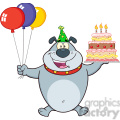 royalty free rf clipart illustration birthday gray bulldog cartoon mascot character holding up a birthday cake with candles gif, png, jpg, eps, svg, pdf