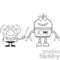 royalty free rf clipart illustration black and white funny scientist or professor shows his pointer a big robot gif, png, jpg, eps, svg, pdf