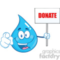 Royalty Free RF Clipart Illustration Water Drop Character Holding Up A Blank Sign With Text