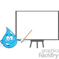 Royalty Free RF Clipart Illustration Water Drop Character Holding A Pointer Presenting On A Board
