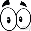Royalty Free RF Clipart Illustration Black And White Cute Cartoon Eyes