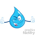 Royalty Free RF Clipart Illustration Happy Water Drop Character Giving A Double Thumbs Up