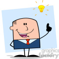 Royalty Free RF Clipart Illustration Happy Businessman With A Bright Idea Cartoon Character On Background