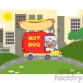Royalty Free RF Clipart Illustration African American Hot Dog Vendor Driving Truck In The Town