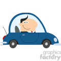 8263 Royalty Free RF Clipart Illustration Smiling Manager Driving Car To Work In Modern Flat Design Vector Illustration