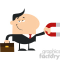 8279 Royalty Free RF Clipart Illustration Smiling Manager Holding A Magnet Flat Design Style Vector Illustration