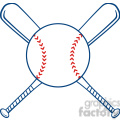 Two Crossed Baseball Bats And Ball