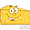 Royalty Free RF Clipart Illustration Smiling Cheese Wedge Cartoon Mascot Character