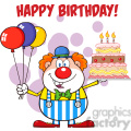 Royalty Free RF Clipart Illustration Happy Birthday With Clown Cartoon Character With Balloons And Cake With Candles