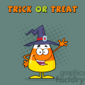 8888 Royalty Free RF Clipart Illustration Smiling Candy Corn Cartoon Character With A Witch Hat Waving Vector Illustration Isolated On White And Text vector clip art image