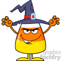 8881 Royalty Free RF Clipart Illustration Scaring Halloween Candy Corn With A Witch Hat And Text Vector Illustration Isolated On White vector clip art image