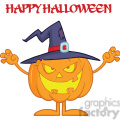 Scaring Halloween Pumpkin With A Witch Hat And Text vector clip art image