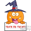 8893 Royalty Free RF Clipart Illustration Happy Witch Pumpkin Cartoon Character Over A Blank Sign With Text Vector Illustration Isolated On White