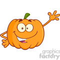 Royalty Free RF Clipart Illustration Funny Halloween Jackolantern Pumpkin Cartoon Mascot Character Waving For Greeting