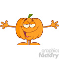 Royalty Free RF Clipart Illustration Funny Halloween Pumpkin Cartoon Mascot Character With Open Arms For Hugging