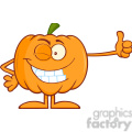 Royalty Free RF Clipart Illustration Winking Halloween Pumpkin Mascot Character Giving A Thumb Up vector clip art image