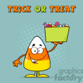 8878 Royalty Free RF Clipart Illustration Smiling Candy Corn Cartoon Character Holds A Box With Candys Vector Illustration With Background And Text vector clip art image
