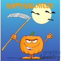 Royalty Free RF Clipart Illustration Scaring Halloween Pumpkin With A Scythe Greeting Card vector clip art image