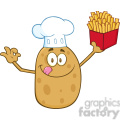 8786 Royalty Free RF Clipart Illustration Chef Potato Cartoon Character Gesturing Ok And Holding Fries Vector Illustration Isolated On White