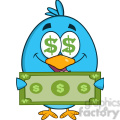 8837 Royalty Free RF Clipart Illustration Happy Blue Bird Cartoon Character Showing A Dollar Bill Vector Illustration Isolated On White