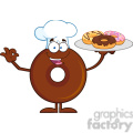 8722 Royalty Free RF Clipart Illustration Chef Chocolate Donut Cartoon Character Serving Donuts Vector Illustration Isolated On White