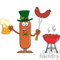 8454 Royalty Free RF Clipart Illustration Smiling Leprechaun Sausage Cartoon Character Holding A Beer And Weenie Next To BBQ Vector Illustration Isolated On White
