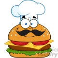 8519 Royalty Free RF Clipart Illustration Smiling Chef Hamburger Cartoon Character Vector Illustration Isolated On White