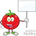 8394 Royalty Free RF Clipart Illustration Red Tomato Cartoon Mascot Character Holding Up A Blank Sign Vector Illustration Isolated On White