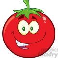 8385 Royalty Free RF Clipart Illustration Smiling Tomato Cartoon Mascot Character Vector Illustration Isolated On White