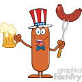 8440 Royalty Free RF Clipart Illustration Patriotic Sausage Cartoon Character Holding A Beer And Weenie On A Fork Vector Illustration Isolated On White