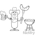 8459 Royalty Free RF Clipart Illustration Black And White Cowboy Sausage Cartoon Character Holding A Beer And Weenie Next To BBQ Vector Illustration Isolated On White
