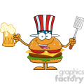 8583 Royalty Free RF Clipart Illustration Happy American Hamburger Cartoon Character Holding A Beer And Bbq Slotted Spatula Vector Illustration Isolated On White
